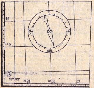 Рис. 5.9 Ориентирование карты по компасу