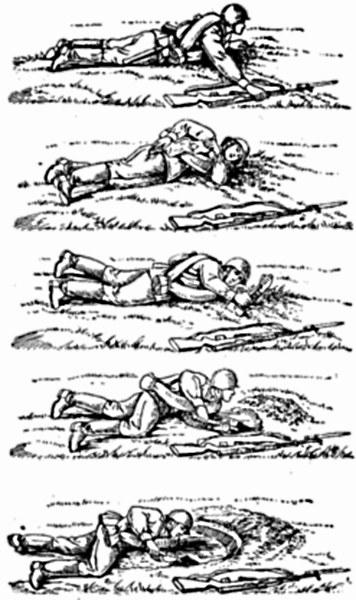 Рис. 4.2 Отрывка одиночного окопа для стрельбы лежа под огнем противника